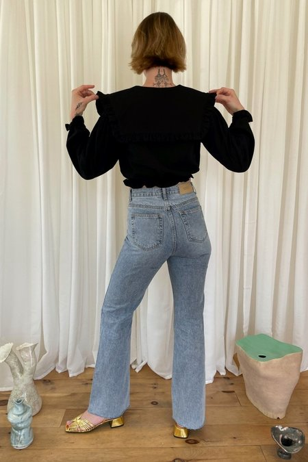 Courgette Flared Denim Pants - blue