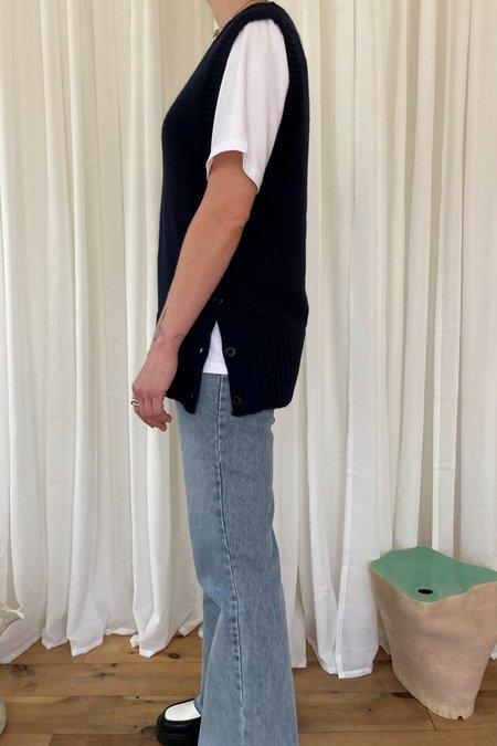 Courgette Oversized Knit Vest - Navy