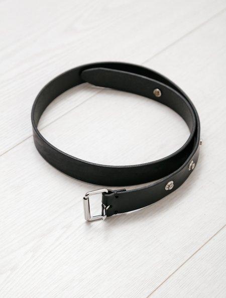 Margaret Howell MHL Press Stud Oiled Leather Belt - Black