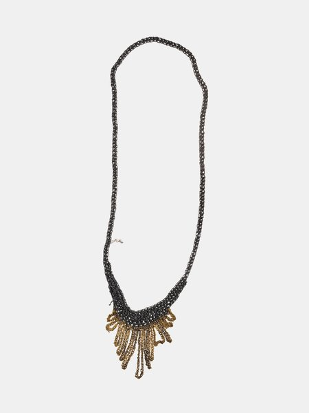 Arielle De Pinto Small Fringe Necklace - Midnight/Burnt Gold