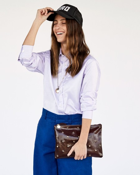 Clare V. Flat Tabs Clutch - BROWN