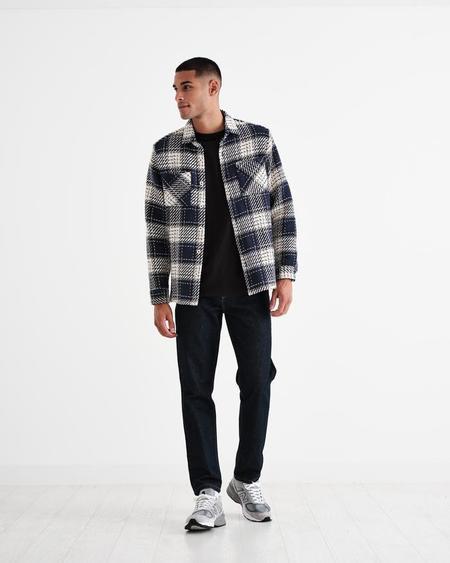 Wax London Whiting Shirt - Navy/Ecru