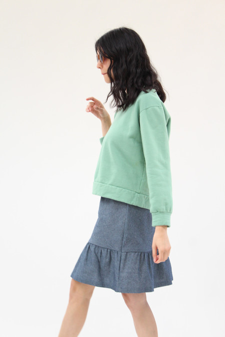 Beklina Chambray Bias Ruffle Skirt