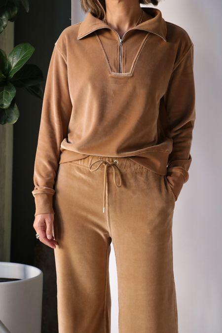 Nili Lotan Bentley Velour Quarter Zip Sweatshirt in Camel