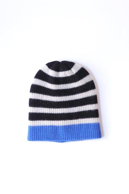 The Elder Statesman Stripe Beanie in Black/White/True Blue