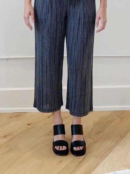Cotton Pinstripe Pants in Black by Pleats Please