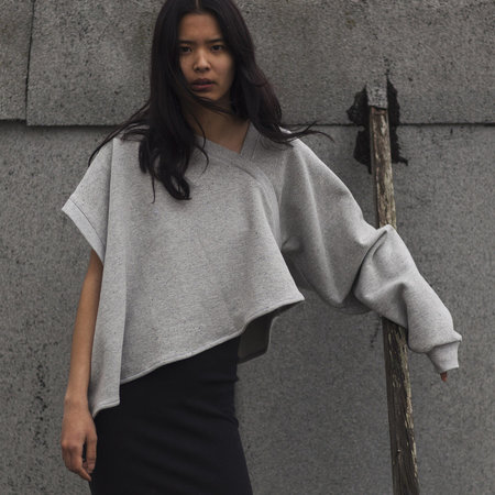 Vejas One Sleeved Drapped Sweatshirt