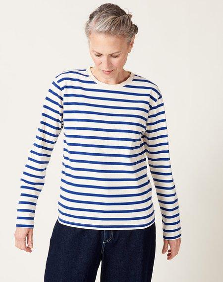 Kapital Stripe Jersey Long Sleeve Smile Patch Tee - Blue/White