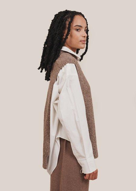 Monica Cordera Soft Wool Cape - deep taupe