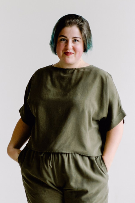 Hackwith Design House PLUS SIZE Raw Finish Tee-Olive Tencel