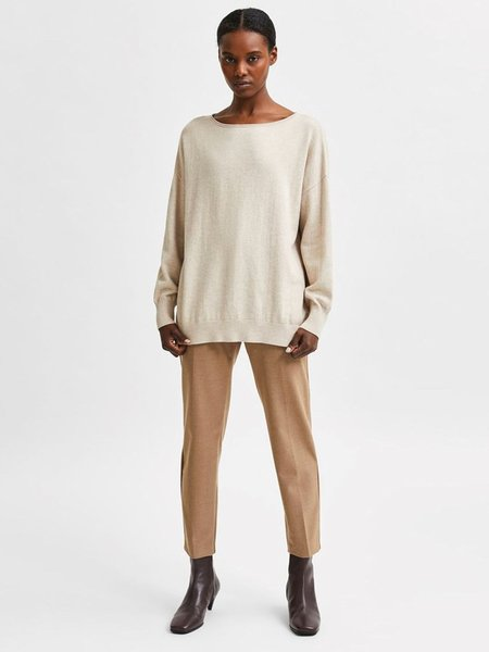 Selected Femme Linika Cashmere Blend Knit sweater - Birch