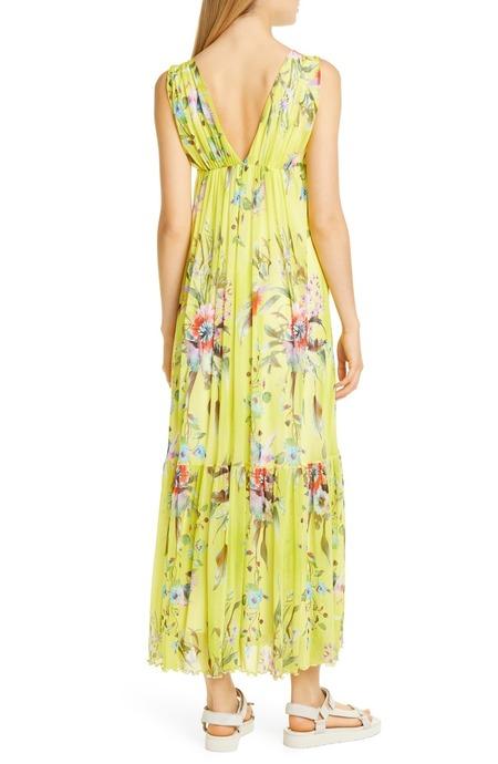 Fuzzi bouquet deep v maxi dress - floral