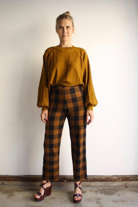 Ali Golden Silk Fly Front Pant - Copper/Black Plaid