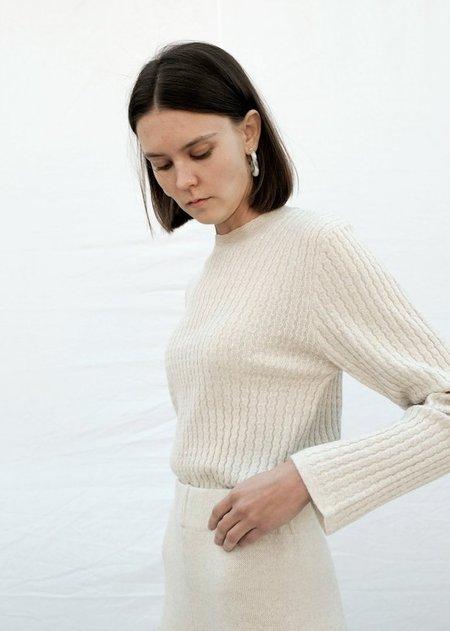Micaela Greg Shell Rib Wool Tee - Chalk