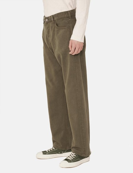 YMC Papa Organic Cotton Twill Jeans - Olive Green