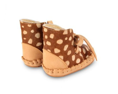 KIDS Donsje Lined Spotted Cow Hair Moccasins - Brown