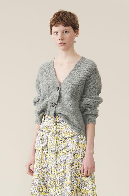 Ganni Soft Wool Knit Cardigan - Paloma Melange