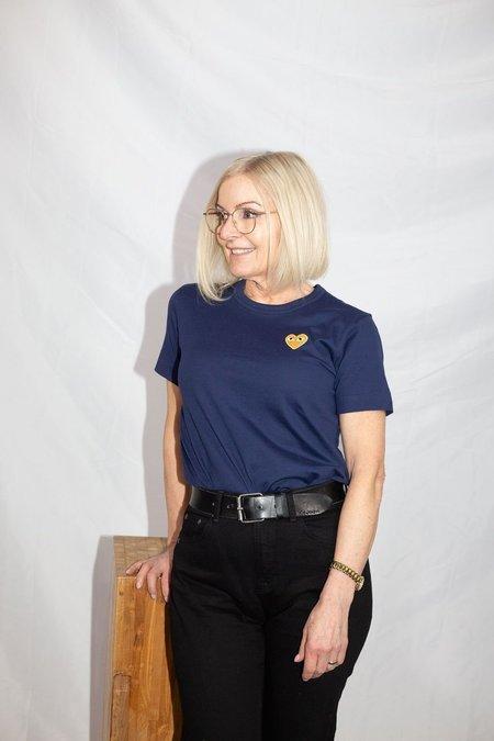 Comme des Garçons Gold Heart Patch T-Shirt - Navy