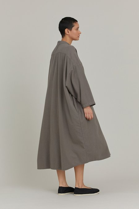 Black Crane Long Shirt Dress