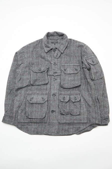 Engineered Garments Poly Wool Glen Plaid Explorer Shirt Jacket - Grey/Maroon
