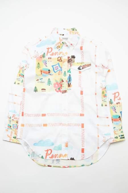 Engineered Garments Cotton Workaday BD Shirt - White Pennsylvania State Print