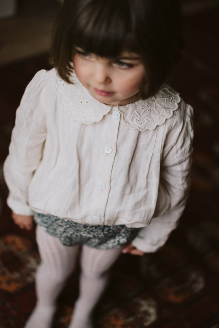 Kids Little Cotton Clothes Ruby Linen Blouse - Milk