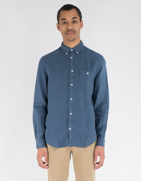 No Nationality New Derek Linen Shirt Blue