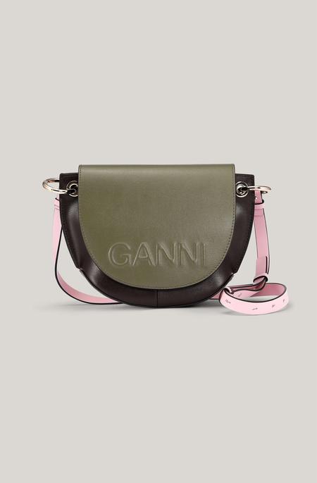 Ganni Recycled Leather Saddle Bag - Olive