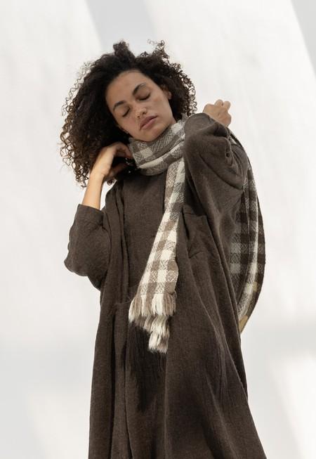 Lauren Manoogian Handwoven Boucle Serape - White/Grey
