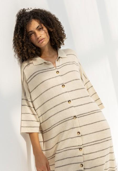 Lauren Manoogian Banded Shirt Dress - Blackened Marl Flax