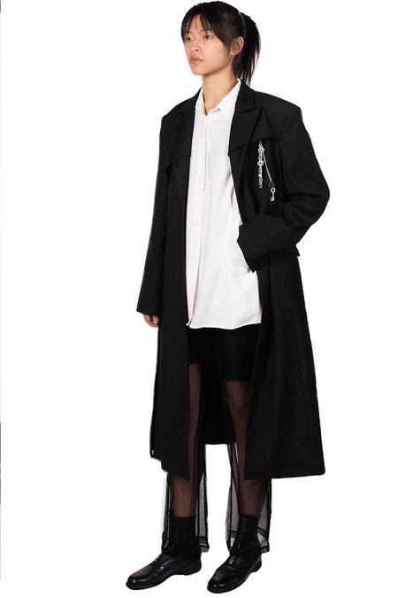 C2H4 Asymmetrical Arc Tailor Coat - black