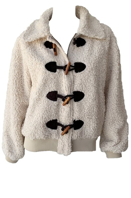 The Great. Sueded Toggle Sherpa Coat - Cream