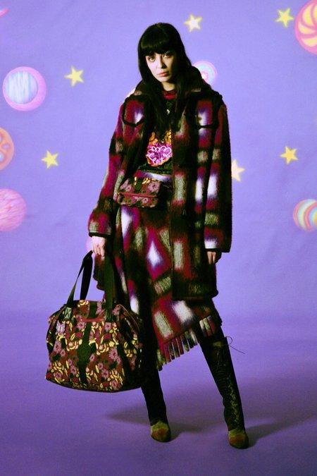 Anna Sui Ombre Plaid Coat - Magenta Multi