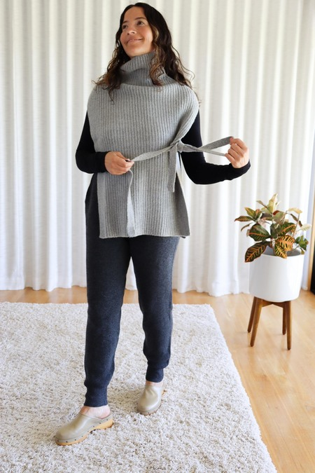 Mijeong Park High Neck Knit Poncho - Gray