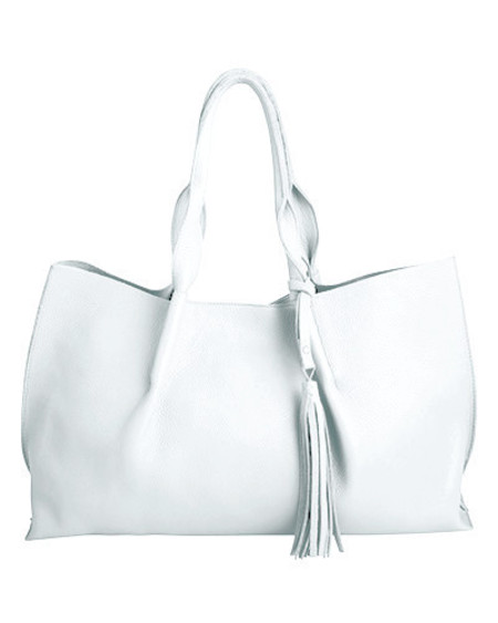 Oliveve isabel tote in white pebble leather with leather tassel