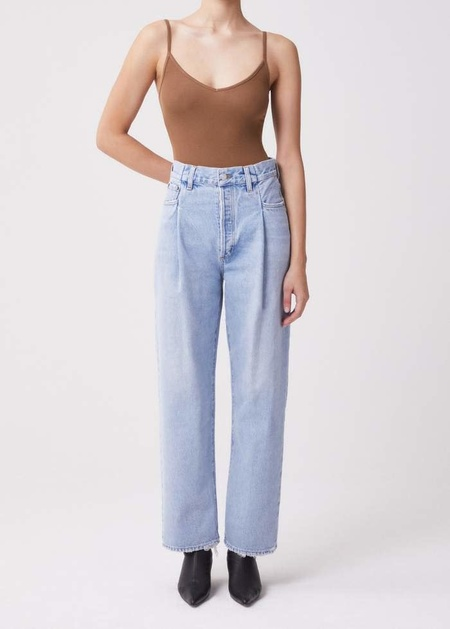AGOLDE Fold Waistband High Rise Tapered Jean - Sideline