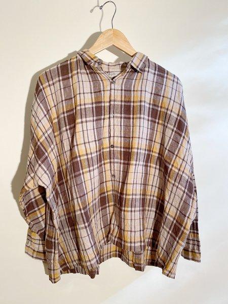 ICHI ANTIQUITES Linen Tartan Shirt - Brown/Mustard