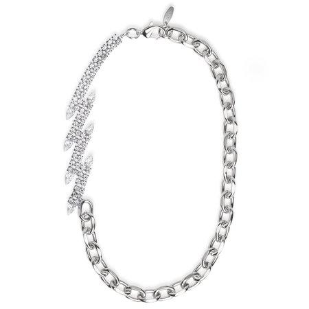 Joomi Lim Asymmetrical Long Chain Diagonal Crystals Necklace