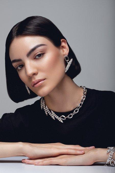 Joomi Lim Chain Link Floating Diagonal Crystals Earrings