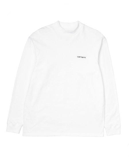 CARHARTT WIP L/S MOCKNECK SCRIPT EMBO T- Shirt - WHITE