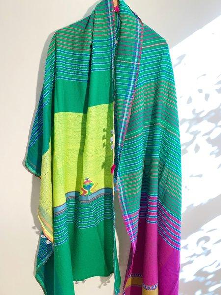 Injiri Wool Stole - Fuchsia/Green