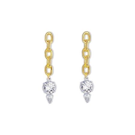 Joomi Lim Chain Link Earrings W/ Crystals