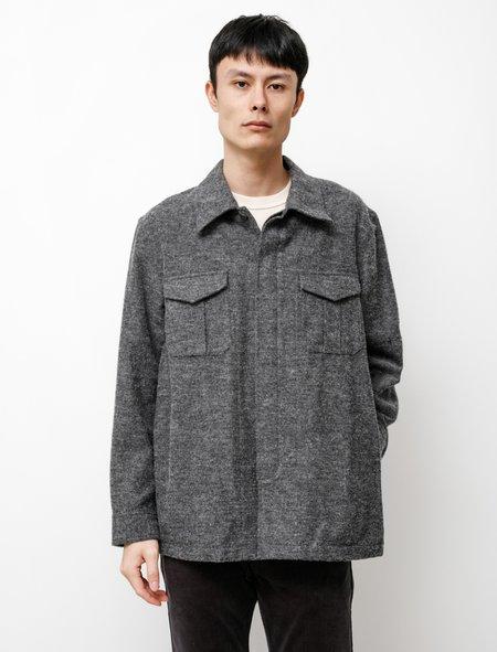 Niuhans Brushed British Wool Cotton Utility Jacket - Charcoal