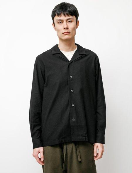 Niuhans Military Moleskin Suede Open Collar Shirt - Black