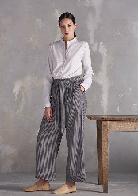 KOWTOW Bay Wide Leg Pant in Chambray Stripe
