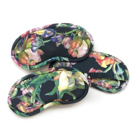 Strathcona Silk Eye Mask Black Floral