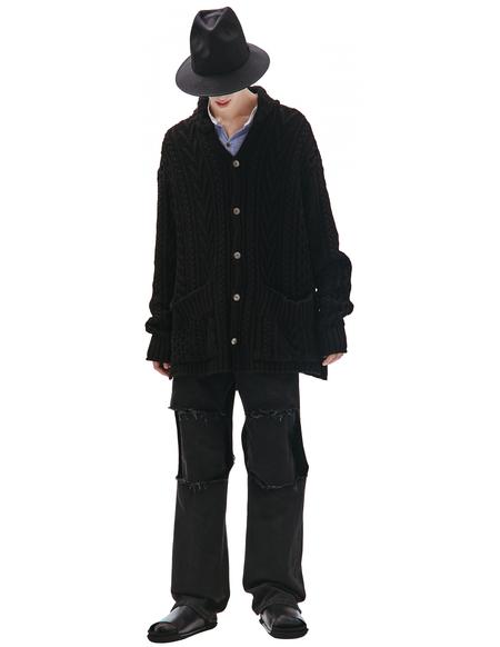 Greg Lauren oversized cardigan - Black