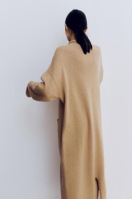 Monica Cordera Baby Alpaca Roll Neck Dress - Camel