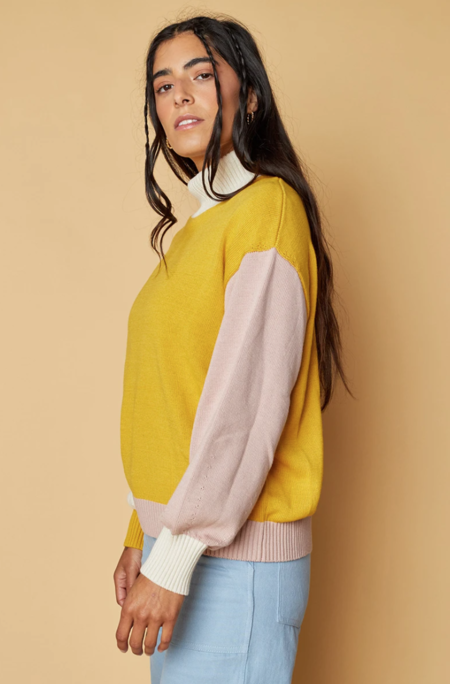 Back Beat Co. Organic Cotton Colorblock Sweater -  Canary