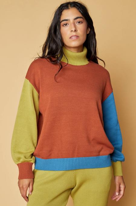 Back Beat Co. Organic Cotton Colorblock Sweater -  Rust
